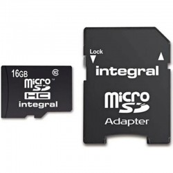 Integral INMSDH16G10 Micro SD Card 16GB with SD Adapter - Class 10